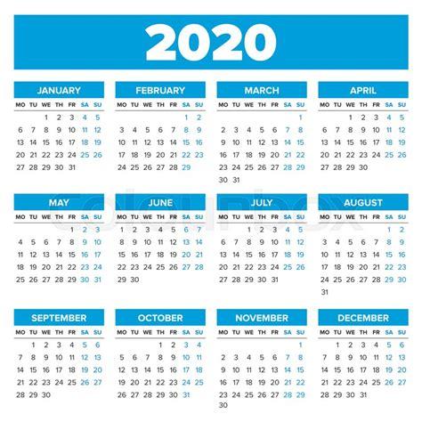 simple year calendar week starts stock vector colourbox