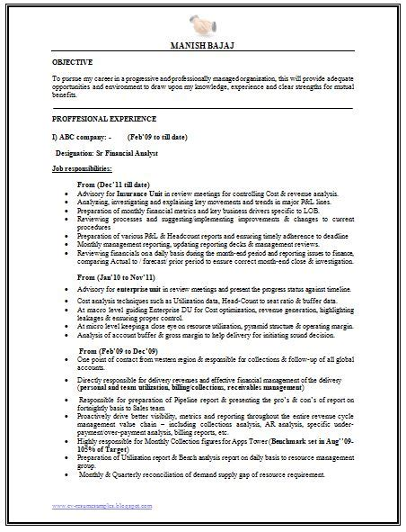 financial analyst skills resume sle quot professional curriculum vitae resume template for all seekers sle template of