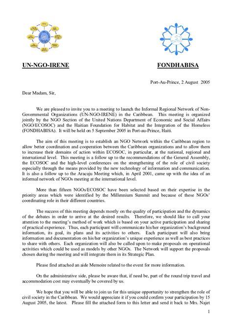 invitation letter invitation letter sle un ngo irene edit fill sign handypdf
