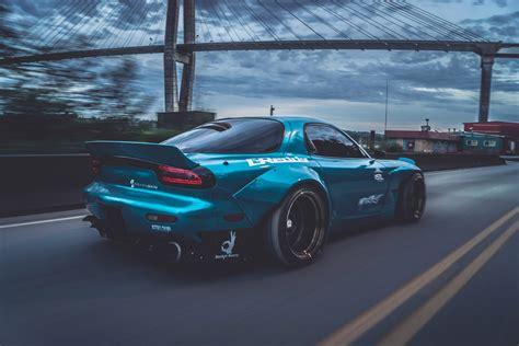 Sports Car, Mazda Rx 7, Mazda, Blue Cars, Bridge, Rocket