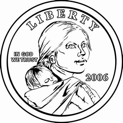 Sacagawea Clipart Clip Coloring Pages Dollar Coins
