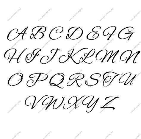 Flowing Cursive Uppercase & Lowercase Letter Stencils Az 14 To 12 Inch Sizes  Stencil Letters Org