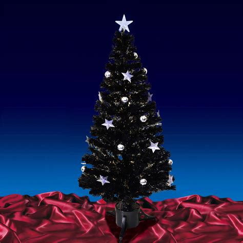 5ft 150cm christmas black fibre optic tree with warm