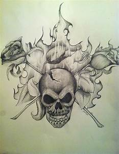 Skull And Cross Roses Drawing by Shanna Hare
