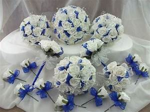 ROYAL BLUE AND WHITE WEDDING BOUQUET / FLOWERS PACKAGE | eBay
