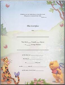 Birth certificate template for school project with winnie for Boy birth certificate template