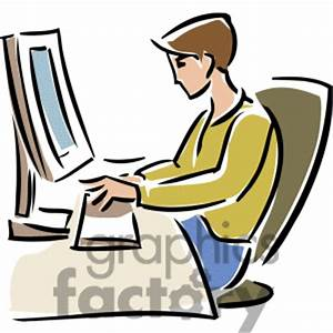 A Student Studying At Computer Clipart