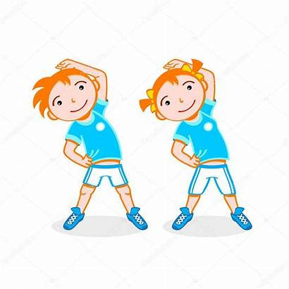 Exercise Cartoon Clipart Sport Vector Stretching Illustration
