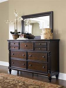 Key Town Traditional Dark Brown Wood Glass Dresser And