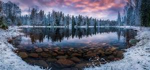Nature, Landscape, Winter, Sunrise, Lake, Forest, Snow, Morning, Trees, Finland, Cold, Water