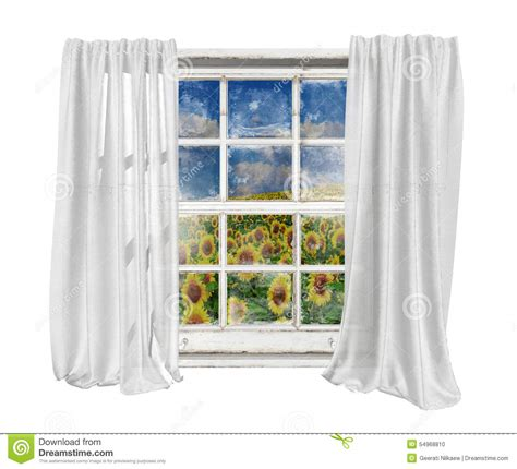 vintage window with white curtains isolated seeing