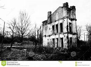 Ruined Old House In Black And White Stock Photo