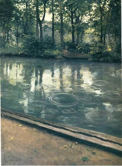 Rain Yerres Caillebotte Gustave Impressionism Wikiart 1875