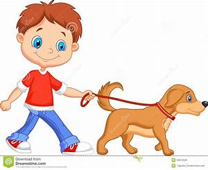 Boy Walking Dog Clipart