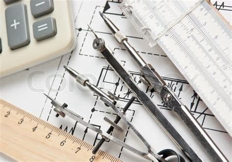 engineering tools  technical drawing stock photo