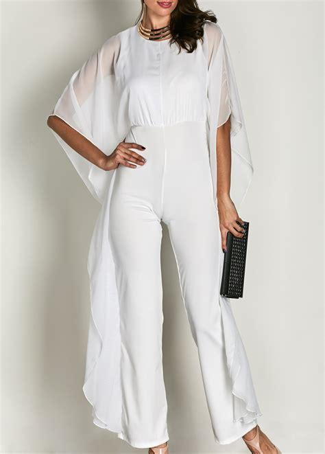 sleeve white jumpsuit neck high waist butterfly sleeve white jumpsuit