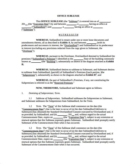 Office Space Rental Agreement by 10 Office Lease Agreement Templates Sle Templates