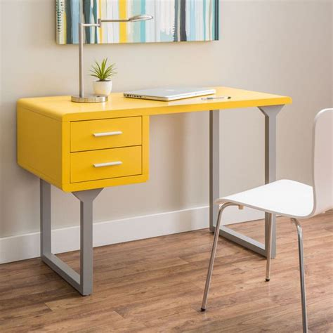 Yellow Office Desk by Retro Yellow And Grey Writing Desk Overstock Shopping