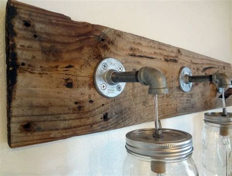 rustic bathroom vanity barn wood mason jar hanging light