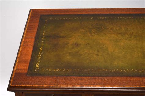 Leather Inlay Desk by Antique Satinwood Inlaid Mahogany Leather Top Desk