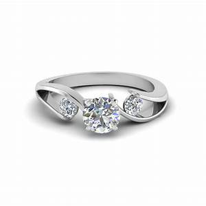 tension set round cut 3 stone diamond engagement ring in With 14k white gold diamond wedding ring
