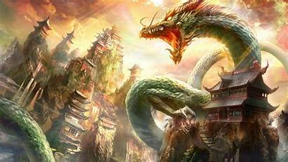 Dragon Chinese Digital Fantasy Nature Clouds Architecture