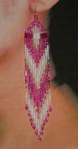 Native American Beaded Earrings Hot Pink White By