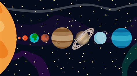 Planets Of The Solar In Order Vector Cartoon Style Motion