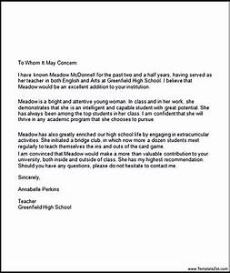 Re mendation Letter Middle School sample personal