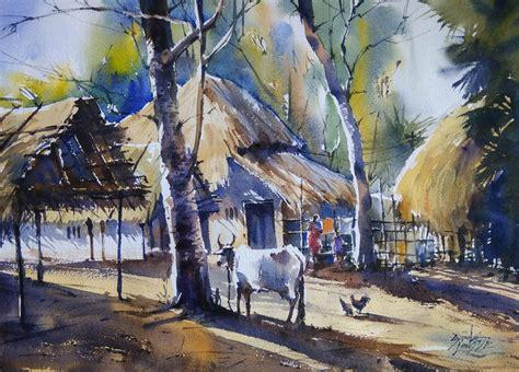 village life  artist sunil linus de impressionism