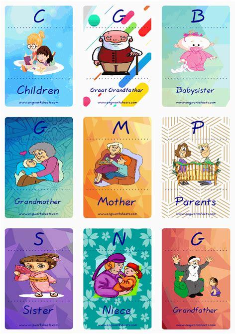 family member esl printable english flash cards worksheets