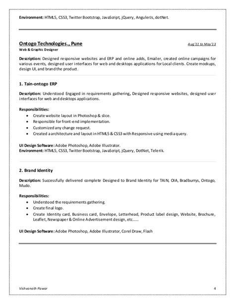 Ui Designer And Front End Developer Resume by Vishvanath Pawar Resume Front End Developer Ui Design Developer