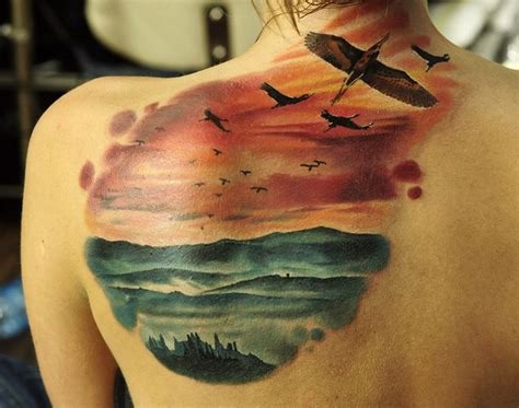 colorful nature scene  birds flying  tattoo