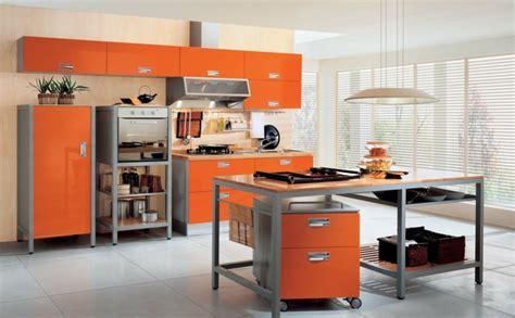cuisine orange et gris cuisine orange 50 idées d 39 aménagement stimulantes