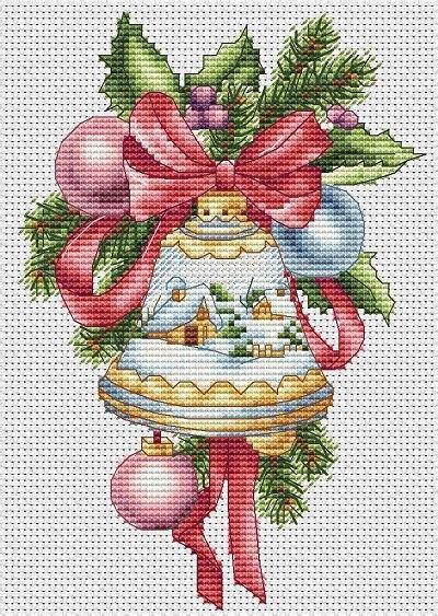 christmas bell  winter pattern crossstitchclub