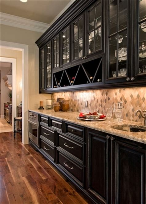 butlers pantry   black cabinets