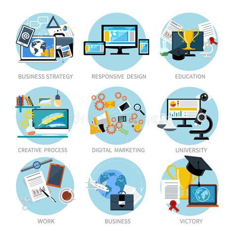 digital marketing school icons set banners for business stock vector image 47773175