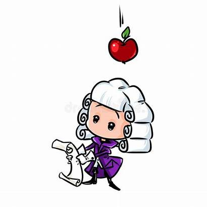 Newton Gravity Cartoon Apple Scientist Isaac Character