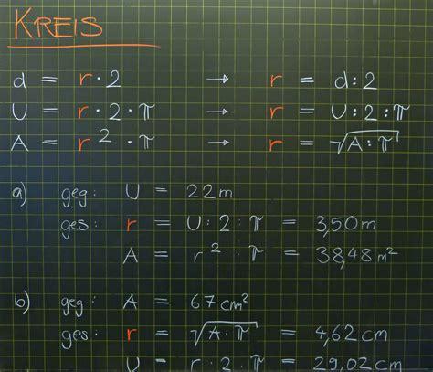 mathematik geometrie tafelbilder kreis berechnung