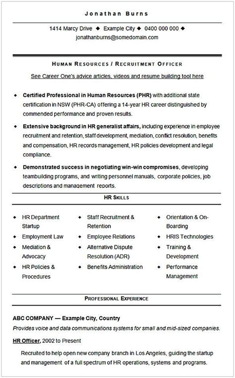 sample cv template hr recruitment hr manager resume