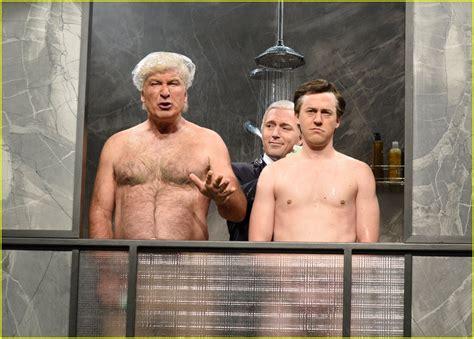 trump baldwin alec snl cold donald strips down open shirtless alex moffat strong cecily