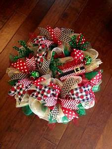 Vintage Red Burlap Poly Deco Mesh Holiday Wreath with