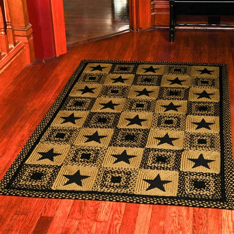 Primitive Rugs With - country rectangle braided rug primitive black and