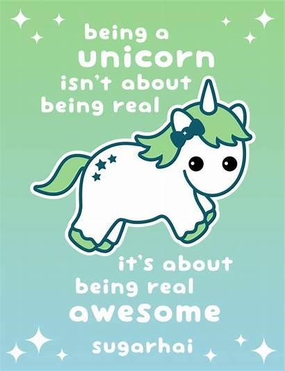 Unicorn Rainbow Awesome Sugarhai Quotes Unicorns Kawaii