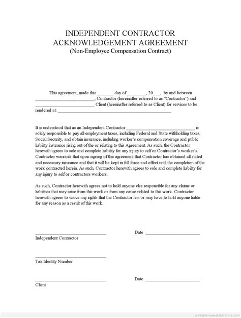 Signed Agreement Template