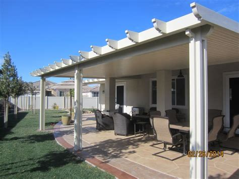 this solid patio cover was installed in the beautiful city