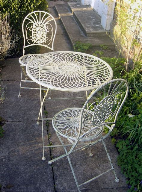 metal shabby chic bistro set garden table and chairs