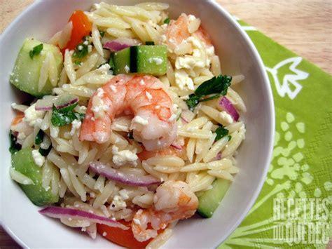 cuisiner les crevettes salade de crevettes grillées et d 39 orzo salades salades de crevettes grillées