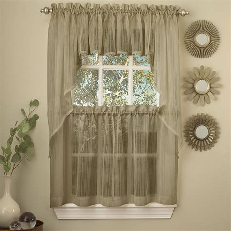 Kitchen Curtains Valances by Harmony Mocha Micro Stripe Semi Sheer Kitchen Curtains