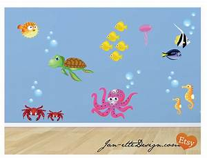 fish and ocean theme fabric wall decals fish wall stickers With fish wall decals